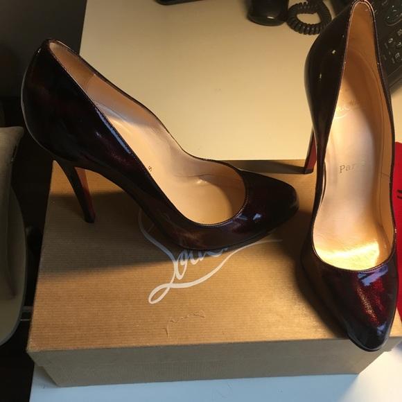 best loved 602ed df697 Christian Louboutin burgundy glittart heels